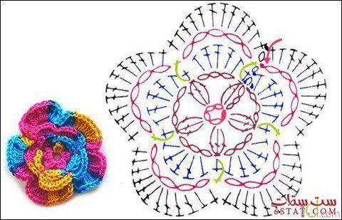 Diagram Crochet Flower Pattern