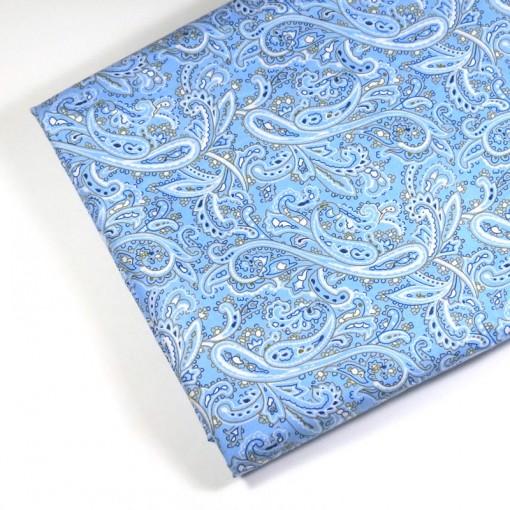 Kain katun motif abstrak biru