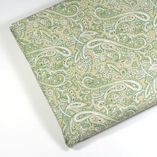 Kain katun motif abstrak hijau