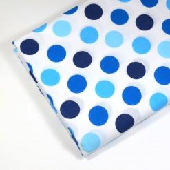 Kain katun motif polka dot besar biru
