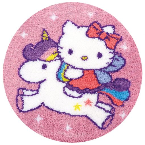 L54 Latch Hook Kit Karpet Rajut Hello Kitty Unicorn 50X50 cm 1