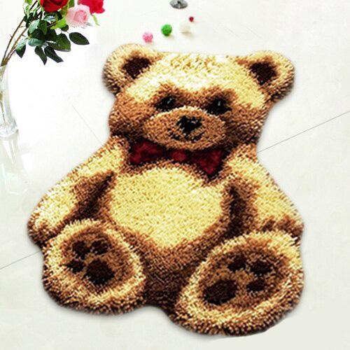L71 Latch Hook Kit Karpet Rajut Teddy Bear Coklat 50×40 cm 1