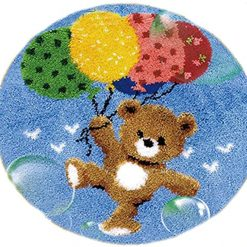 L81 Latch Hook Kit Karpet Rajut Teddy Bear Balon 50X50 cm