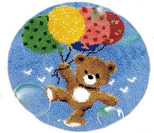 L81 Latch Hook Kit Karpet Rajut Teddy Bear Balon 50X50 cm 1