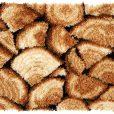 L83 Latch Hook Kit Karpet Rajut Kayu Bakar 60x40 cm