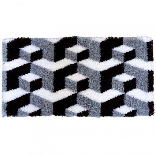 L85 Latch Hook Kit Karpet Rajut 3D Blocks 60×40 cm 1