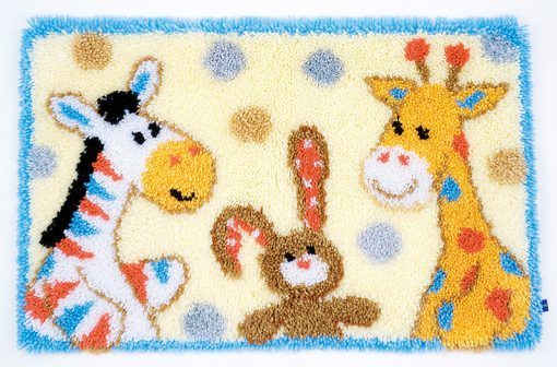 L86 Latch Hook Kit Karpet Rajut Kartun Hewan Lucu 60×40 cm 1