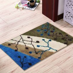 L87 Latch Hook Kit Karpet Rajut Abstrak Empat Warna 60x40 cm