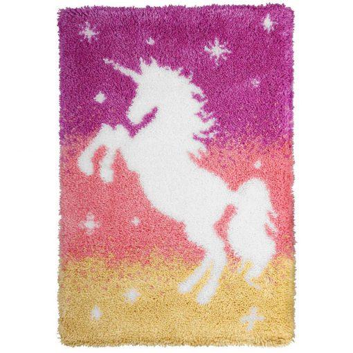 L90 Latch Hook Kit Karpet Rajut Siluet Unicorn 60×40 cm 1