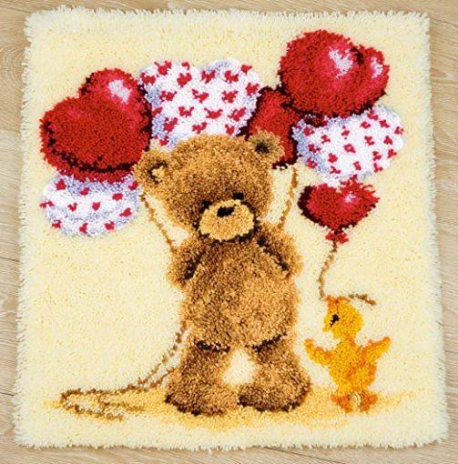 L93 Latch Hook Kit Karpet Rajut Bear Baloon 45×45 cm ZD-107