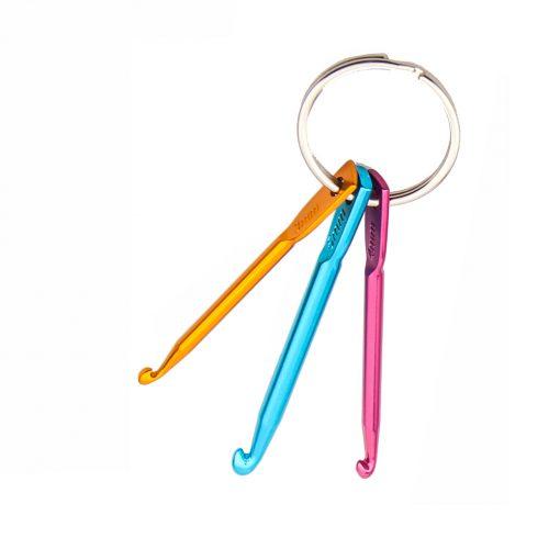 Hakpen Ganci Gantungan Kunci Crochet Hook Aluminium Keychain 3 pcs